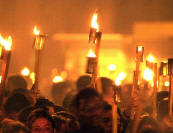 Hundreds of people took part in the March of the Torches, which started at the university of Havana, in honor of the birthday of Jose Marti, National Hero of Cuba, in Havana, on Monday, Jan. 27, 2003. This year is the 150th anniversary of Marti's birth. (AP Photo/Cristobal Herrera)