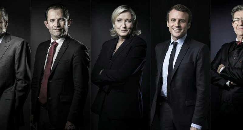 "This combination of pictures created from file photographs on March 20, 2017 shows 2017 French presidential election candidates (L-R and arranged in alphabetical order) Francois Fillon of the Les Republicains (LR) Party, Benoit Hamon of the Socialist Party (PS), Marine Le Pen of the far-right National Front (FN), Emmanuel Macron of the En-Marche movement and Jean-Luc Melenchon of the far left coalition ""La France insoumise"". France's presidential election moves into high gear on March 20, 2017 when the top five contenders face off in a TV debate that could help sway legions of undecided voters, a month before they go to the polls. / AFP PHOTO / JOEL SAGET AND Eric FEFERBERG"