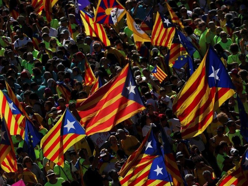 Esteladas  Catalan separatist flags  wave in the air as thousands of people gather for a rally on Catalonia s national day  La Diada  in Barcelona  Spain  September 11  2017  REUTERS Susana Vera